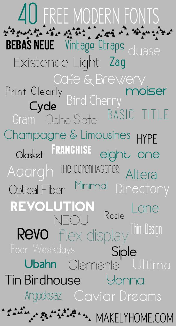"""40 Free Modern Fonts : I don't usually go for """"modern,"""" but I really like several of these."""