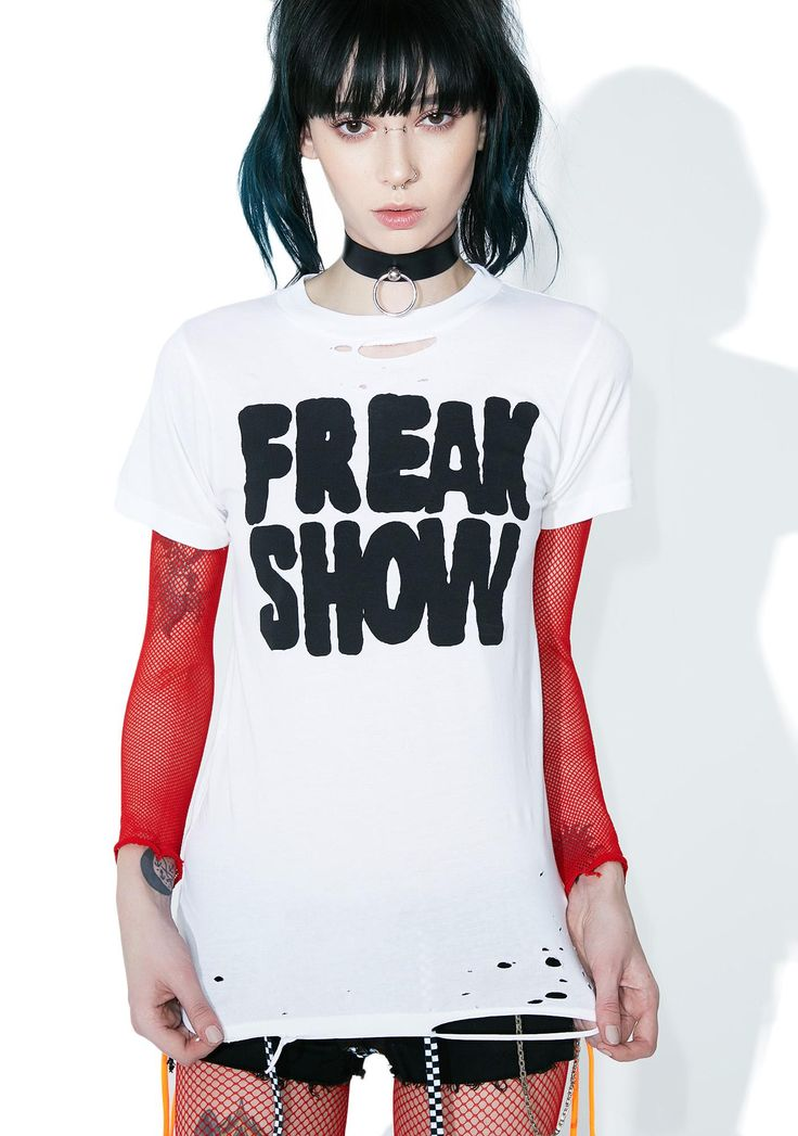 """Local Boogeyman Freak Show Tee who wants to be normal anyway, right babe? Embrace yer oddity with this spine-chilling tee featuring a supa soft vintage-inspired construction, allover distressing and bold print that reads """"FREAK SHOW""""."""