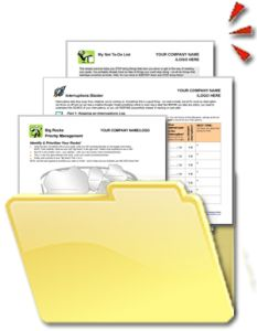 Value Pack containing 6 Time Management Tools. Includes Interruptions Blaster Workbook, Urgent Important Tool, Action Priority Matrix, Not To Do List & more