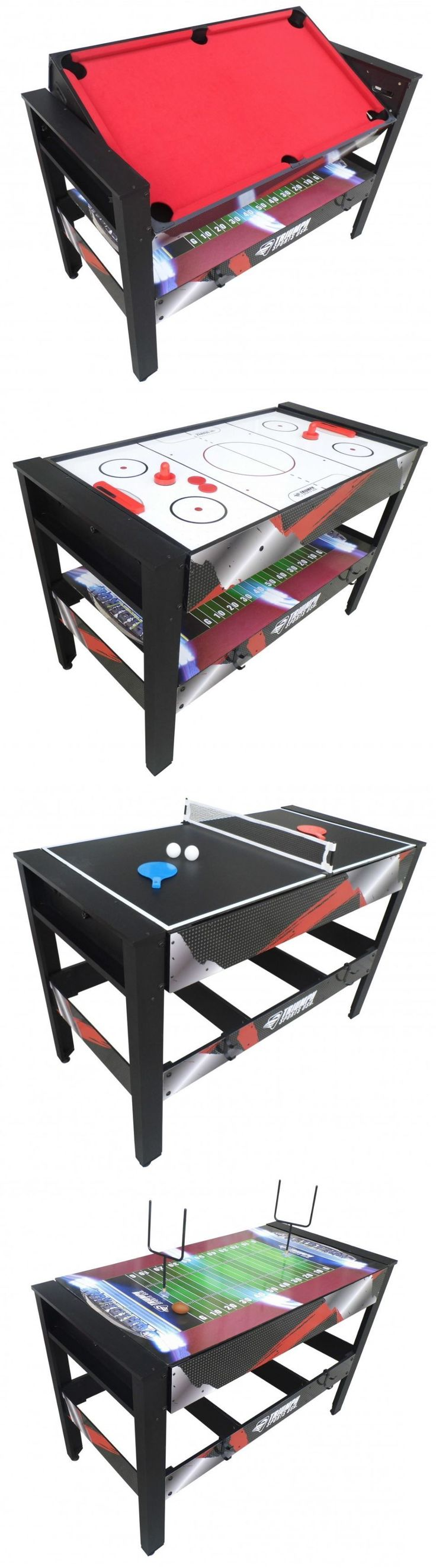 Tables 21213: Game Tables 4 In 1 For Room Ping Pong Air Hockey Pool Football Multi Combination BUY IT NOW ONLY: $229.99