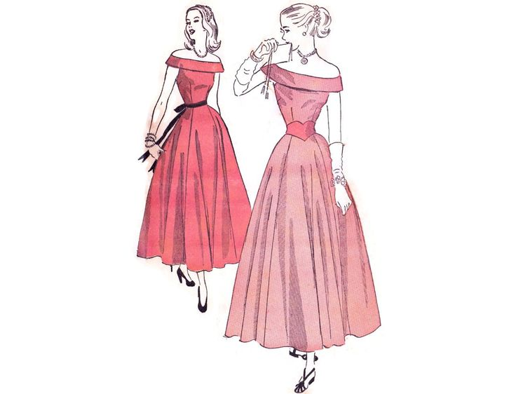 1940s Evening Gown Pattern Advance 4755, Off the Shoulder Formal with Cuffed Bodice, Teen Dress, Vintage Sewing Pattern Bust 30 Small by FriskyScissors on Etsy https://www.etsy.com/listing/221402989/1940s-evening-gown-pattern-advance-4755