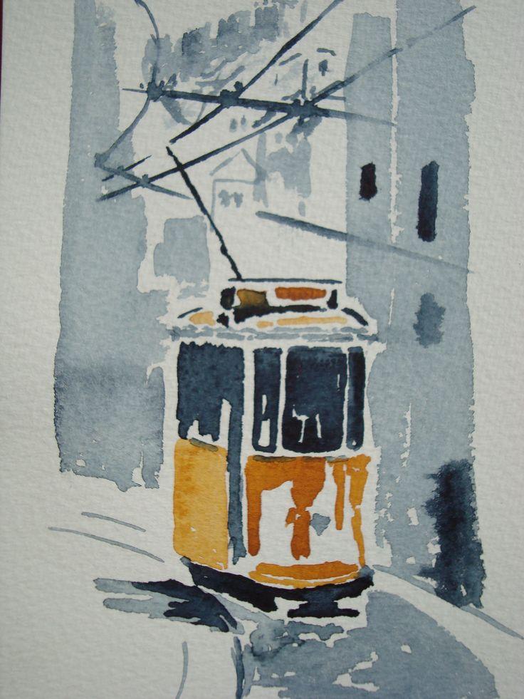 Lisbon, watercolor