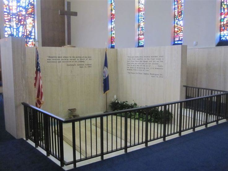 Gravesites of President and Mrs Eisenhower in a chapel on the grounds of the Presidential Library in Abilene, Kansas