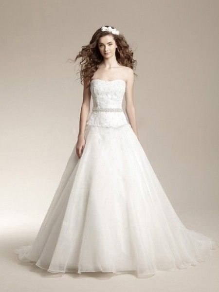 A-line Sweetheart Beading Sleeveless Court Trains Organza Wedding Dresses For Bride