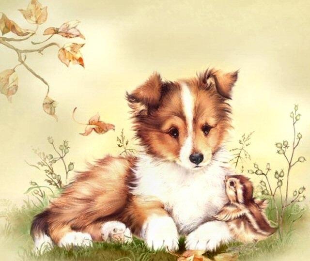 puppy & bird