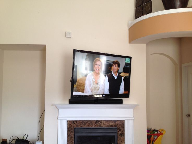 60 Quot Vizio Flatscreen Tv Full Motion Wall Mount Installation With Sound Bar Over Fireplace Mantle