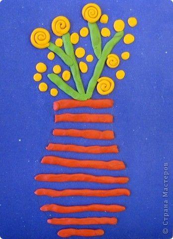 Картина панно рисунок 8 марта Аппликация из пластилина + обратная картина для мамы Пластилин фото 1