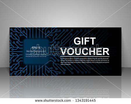 Stock Vector: Technology Event Invitation Card Template. Gift voucher.