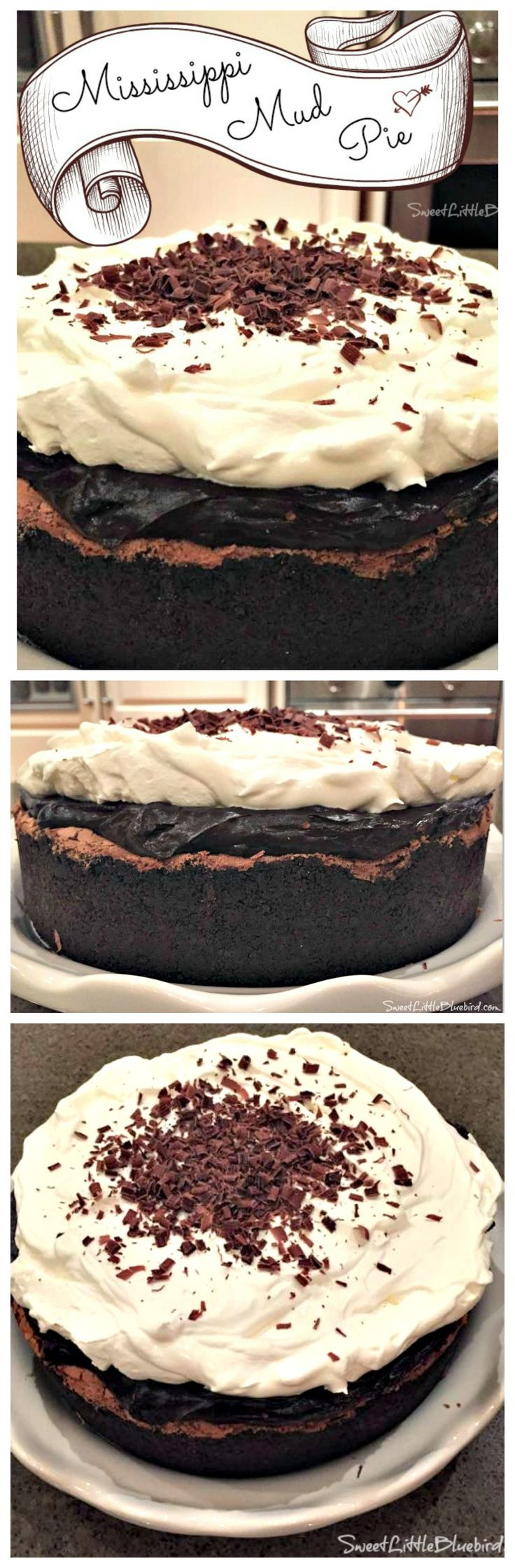 MISSISSIPPI MUD PIE {also known as Muddy Mississippi Cake}  A flourless chocolate cake inside a cookie crust, layered with silky pudding and topped with fresh whipped cream and shaved semi-sweet chocolate.  A chocolate lover's dream!! |  SweetLittleBluebird.com