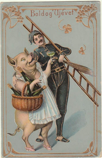 Decorative New Year's Postcard with huge Pig. Art Nouveau