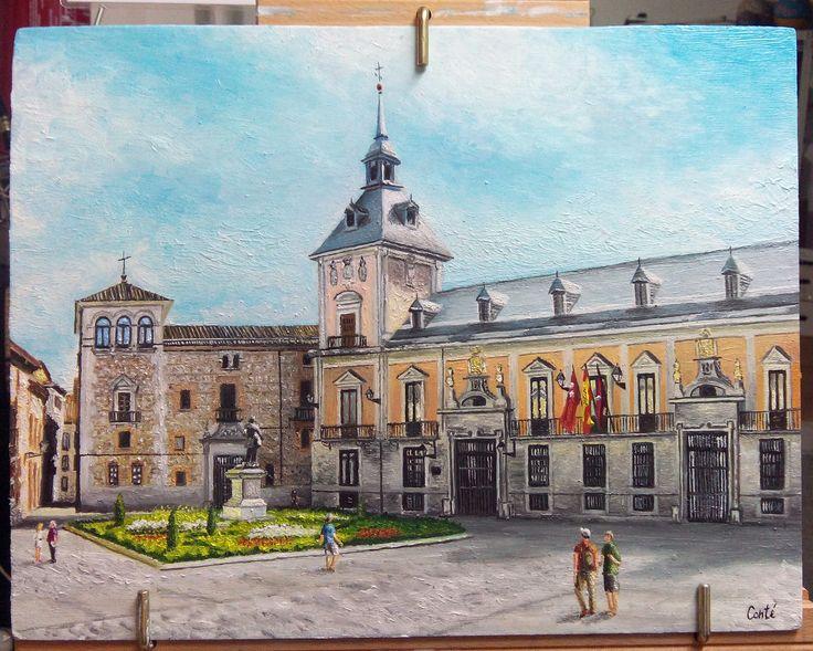 Plaza de la Villa (Madrid) Óleo sobre tabla. 30x40.