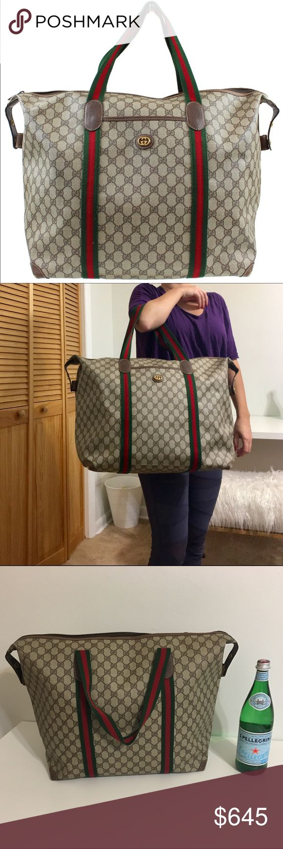 Authentic GUCCI GG Boston Handbag Authentic GUCCI GG Boston Handbag. Made in Italy. Classic Gucci green & red handles, Gucci pattern canvas and gold logo in the front. One outside pocket. Canvas & inside very clean. Please see corners on the picture. Serial nr 012.39.6211 9411. Zipper works smooth. Smoke free home. If you like super oversized totes... this one is for you! Can also be used as a luggage. Pls free to request different pic. Great travel/Weekender bag! Approx. dimensions are: 18L…