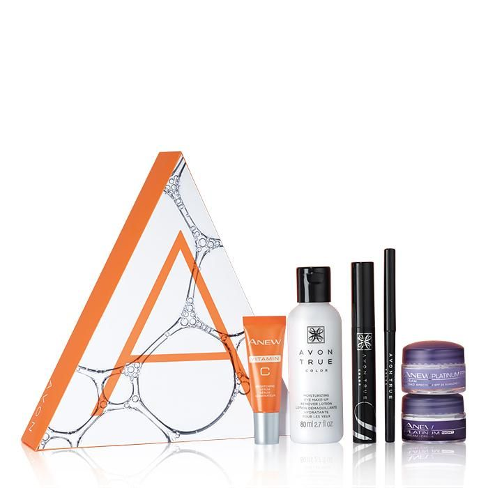 The A Box: Pro Picks Collection - Only $10 with your $40 purchase! A $52 value the collection includes: True Color Glimmersticks Waterproof Eye Liner in Blackest Night, True Color Wide Awake Mascara in Black, True Color Moisturizing Eye Makeup Remover Lotion, Anew Vitamin C Brightening Serum mini, and Anew Platinum Mini Day And Night Creams.