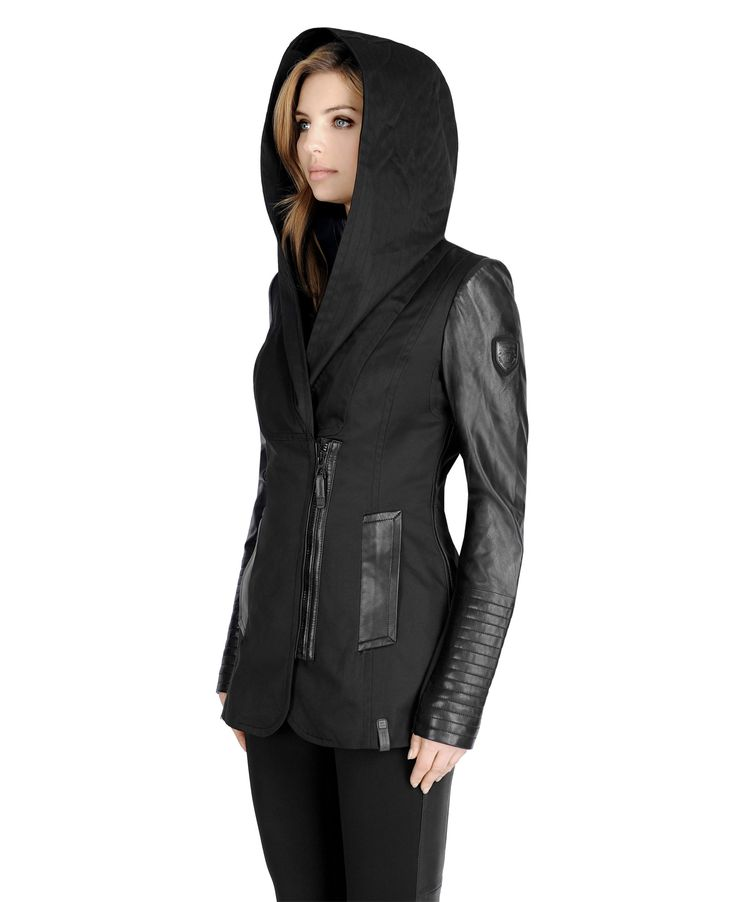"""Rebellious attitude, comfort and utility in one coat. Built with an oversized cap while the inner jacket's ribbed collar protects your neck, you're ready to face the inclemency of Mother Nature. Material / Textile GENUINE LAMB LEATHER, POLYESTER, POLYESTER - SPANDEX Dry cleaner Yes Center back Length 28"""" Lining 100% POLYESTER Fit Semi-fitted Composition SHELL: STRETCH SATEEN : 100% POLYESTER / NEOPRENE : 90% POLYESTER, 10% SPANDEX / GENUINE LAMB LEATHER"""