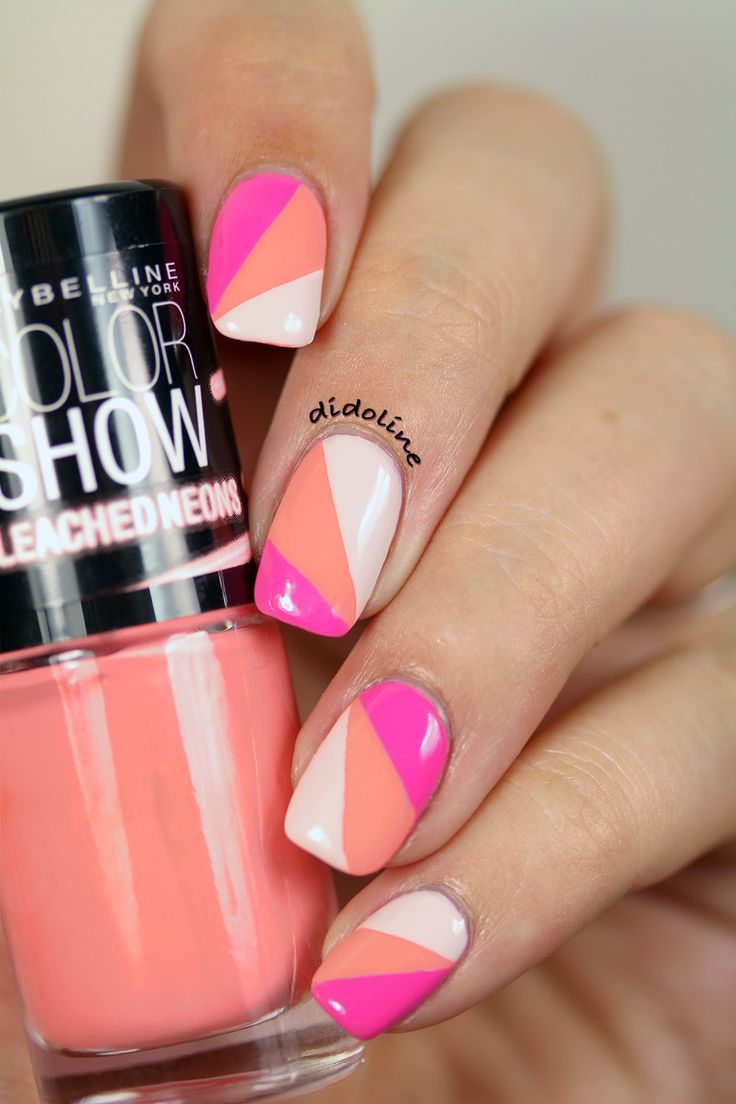 Maybelline Bleached Neons - Coral Heat et manucure au Scotch ~ Didoline's Nails