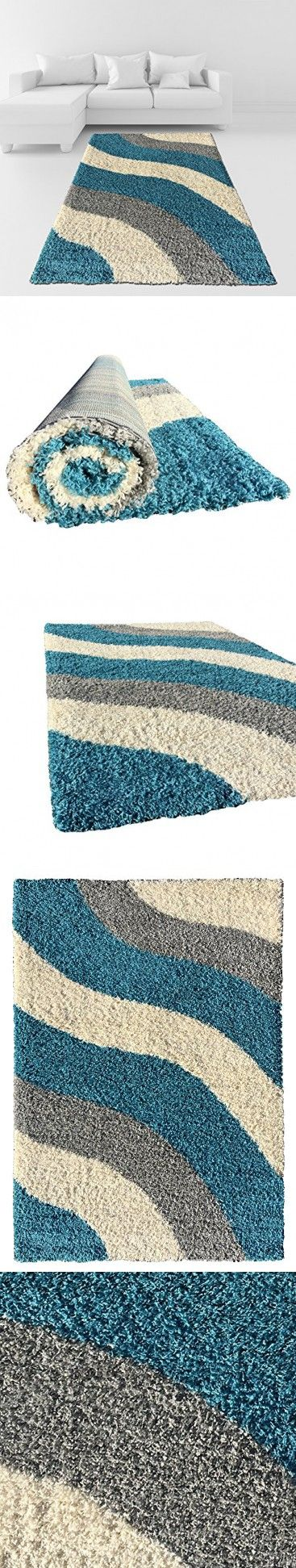 Soft Shag Area Rug 3x5 Geometric Striped Turquoise Grey Shaggy Rug - Contemporary Area Rugs for Living Room Bedroom Kitchen Decorative Modern Shaggy Rugs