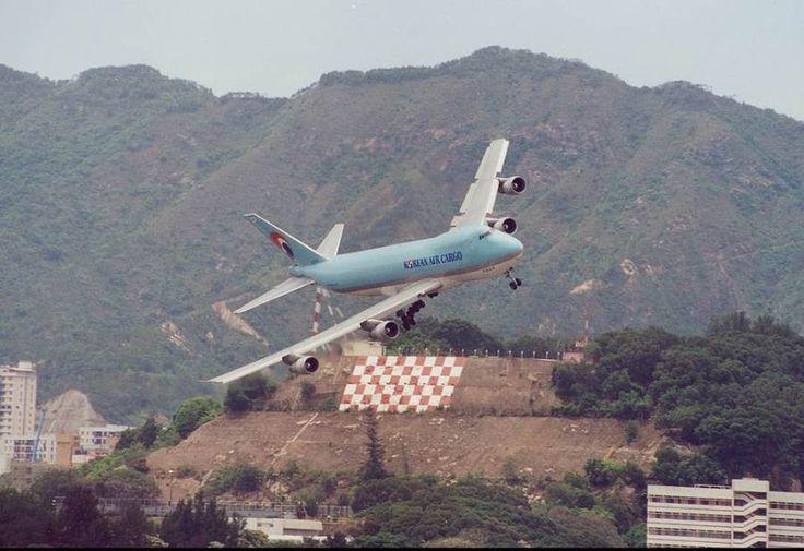 Korean Air Cargo on final turn into Old Hong Kong Kai Tak (HKG) Airport