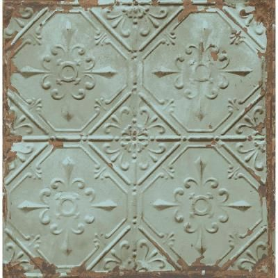 Brewster 8 in. W x 10 in. H Teal Tin Ceiling Distressed Tiles Wallpaper Sample-2701-22331SAM - The Home Depot