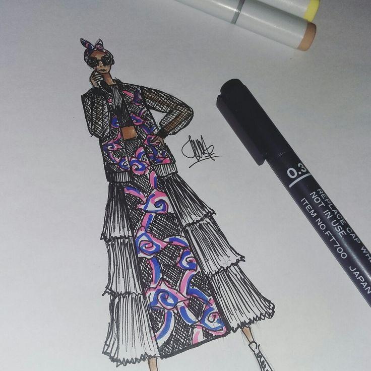 #fashion #sketch #illustration #batik #mega #mendung #street #style #neon #fashion #style