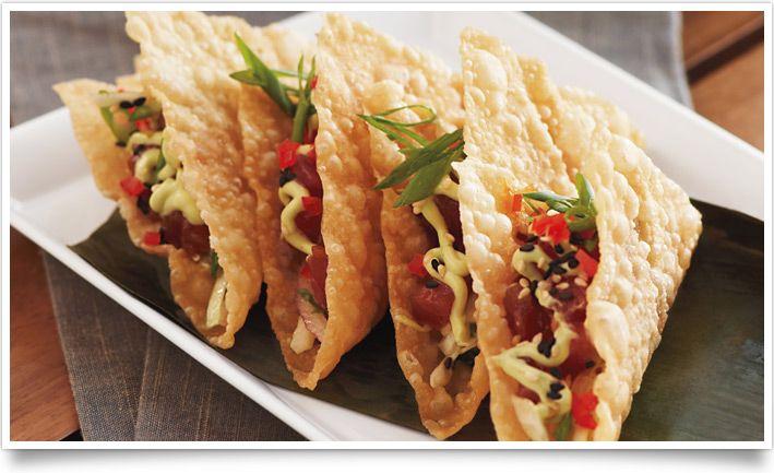 Ahi Poke Wonton tacos. These look amazing!