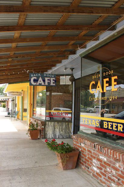 Smithville Texas - BackDoor Cafe is just one of the yummy restaurants in town. The owner, Rob, hand cooks everything with a limited selection daily.  Great food!