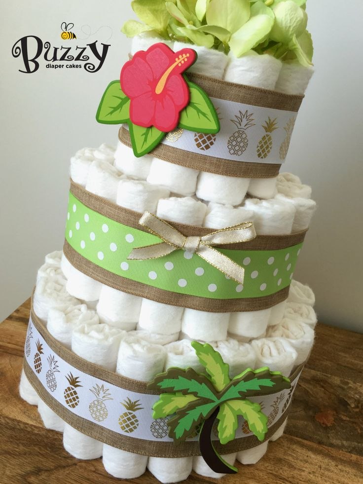 Tropical Diaper Cake, Beach Theme Baby Shower Centerpiece, Hawaiian Baby Shower Diaper Cake by BuzzyDiaperCakes on Etsy https://www.etsy.com/listing/470901813/tropical-diaper-cake-beach-theme-baby