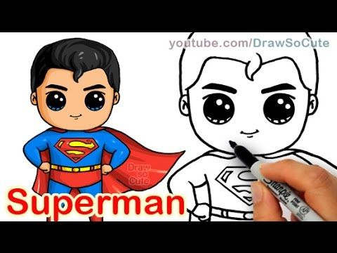 How to Draw Superman Man of Steel Cute step by step