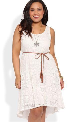 Deb Shops Plus Size Crochet Prairie High Low Dress with Faux Leather Belt $30.00: Summer Dresses, High Low Dresses, Size Crochet, Plus Size, Faux Leather, Crochet Prairie, Leather Belts, Lace Dresses