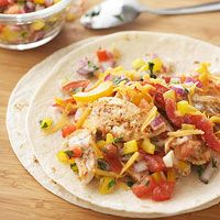 Fajita-Ranch Chicken Wraps - Roll up chicken, peppers, and cheese into tortillas for fresh and tasty wraps. With a bit of ranch and some easy-to-make salsa, this dish is flavorful and low in fat.