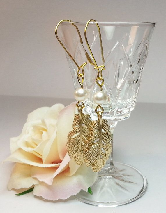 Feathers and Pearls Gold Dangle Earings