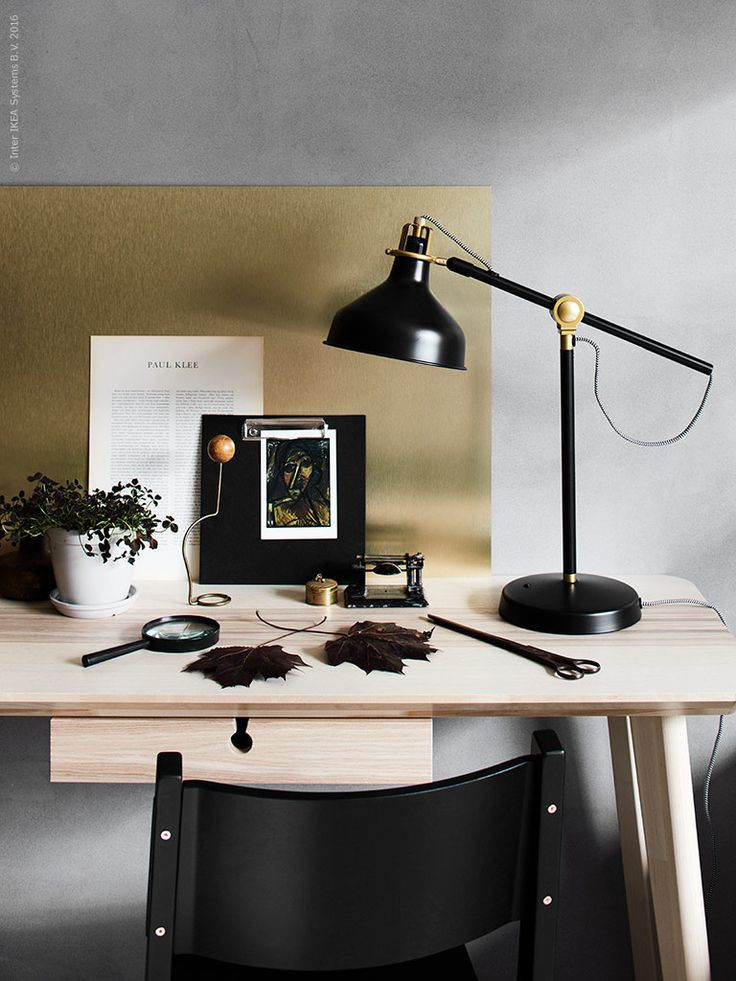 IKEA Livet Hemma | RANARP arbetslampa (art deco - snygg!), LISABO skrivbord, NORRÅKER stol