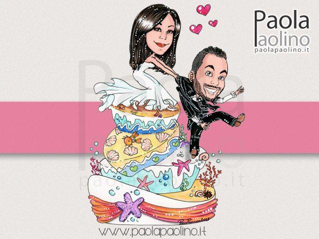 Una simpatica ed #originale #caricatura degli #sposi su #torta, un #caketopper #divertente e #sorprendente per il #matrimonio! #caricaturista #caricaturist