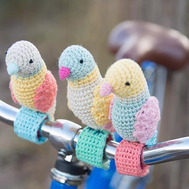 """Enjoy a bike ride with birdies by your side. The pattern to make these friends is in @StitchCraftCreate's Etsy shop."""