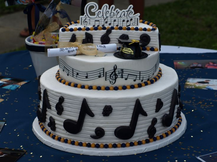 High School Graduation Cake - Musical notes and symbols made out of molding chocolate. 6/08/2013.