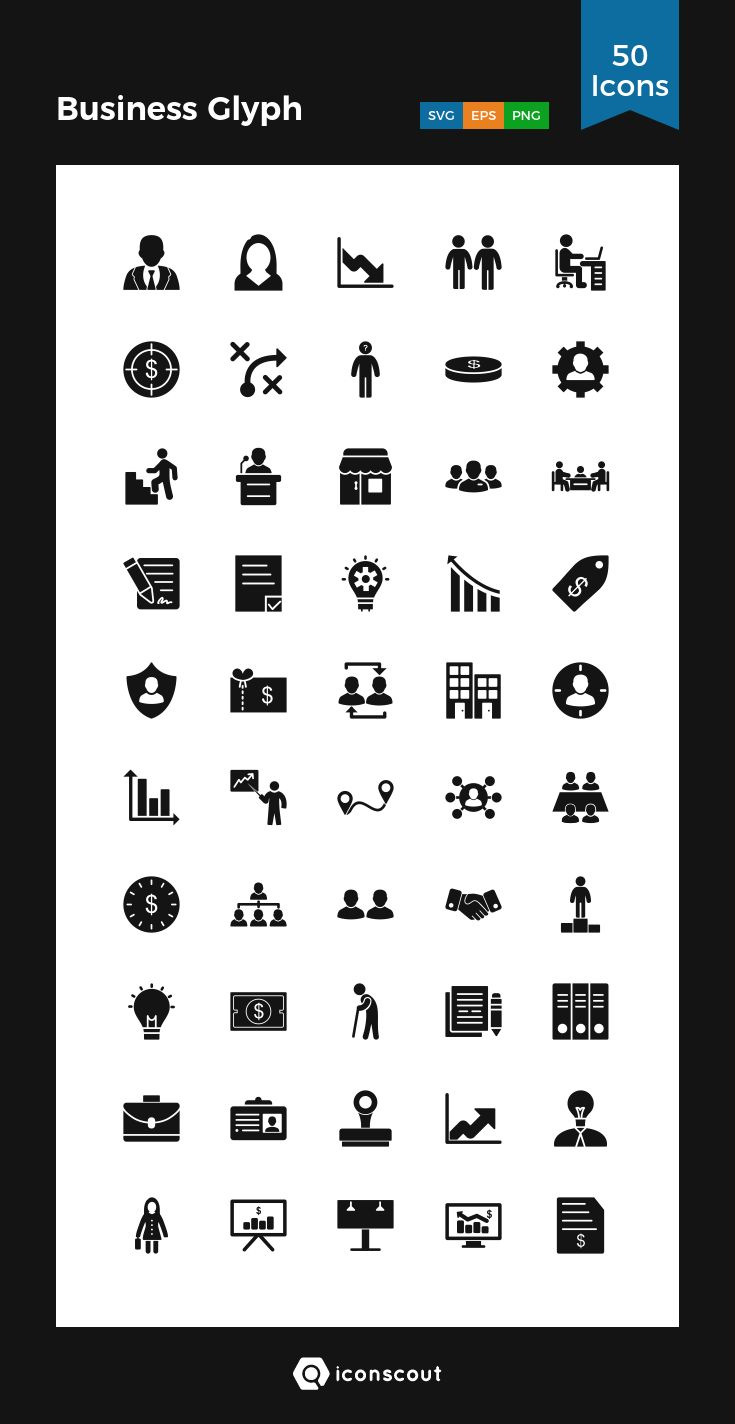 Business Glyph  Icon Pack - 50 Solid Icons