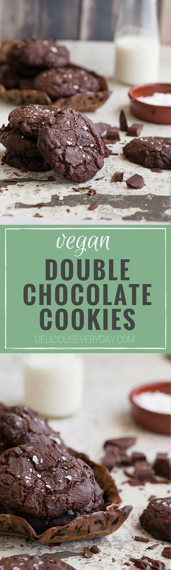 Jam packed with shaved dark chocolate and topped with flaky sea salt these vegan chocolate cookies are chewy, gooey and totally decadent.   -----> Click for the recipe