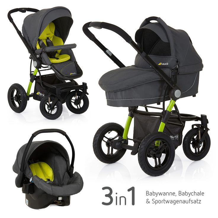 #Kinderwagen Set ab der Geburt - dank Luftbereifung auch für Wald- und Feldwege geeignet. Von Hauck Kinderwagenset King Air Trio Set Lime | Babyartikel.de #Baby #unterwegs