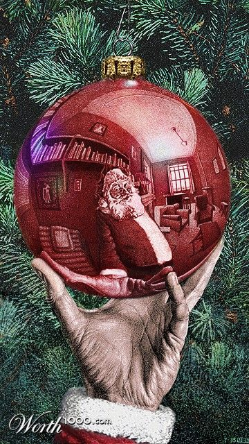 Escher Christmas: Christmas Cards, Santa Clause, Cards Ideas, Christmas Santa, Christmas Reflection Ornaments, Father Christmas, Art, Escher Christmas, Christmas Ornaments