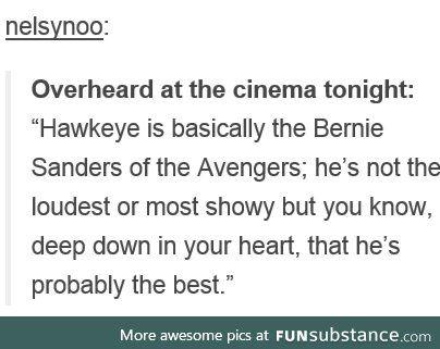 Hawkeye is Bernie Sanders                                                                                                                                                     More