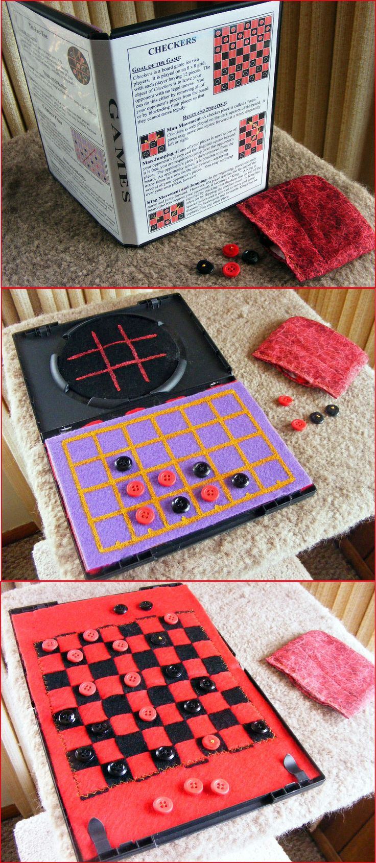 DVD Game Case--I wove black felt into red, sewed it & glued it to two pieces cut from back of memo pad; then glued one side into case. I cut out the very center of circle, glued in black felt & painted Tic-Tac-Toe. I painted Connect Four on a felt piece & glued it to the other side of the checker board.  Checkers are buttons sewed to felt (which may not have been necessary). I sewed checker pouch which sits in the Tic-Tac-Toe area when closed. I printed off instructions for cover.
