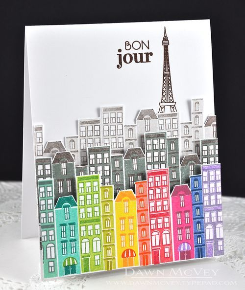 City Scene Revisited: Bonjour Card by Dawn McVey for Papertrey Ink (May 2016)