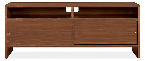 Enjoy the functionality and just-right size of our Addison media console. A combination of open shelves and closed storage allows you conceal clutter or leave items out on display. Sliding panels mean you can open the cabinet to access components without taking up space in your room. Use the Addison media console on its own or with Addison bookcases to create a wall unit.