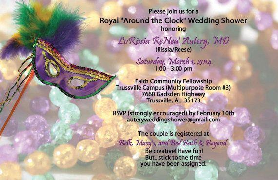Wedding Shower, Mardi Gras, Birthday, Masquerade, Bridal Shower Invitation Digital File, Printable MardiGras, Mask Fat Tuesday, Feather