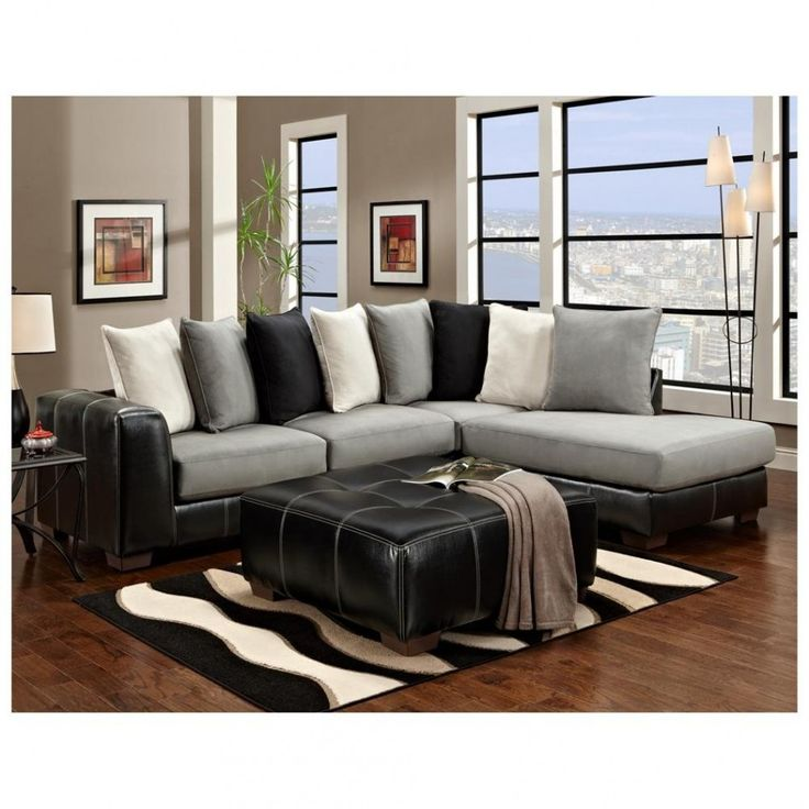 Marvelous Decorating Grey Living Room With Color Pillows | Living Room With Black  Leather Sofa