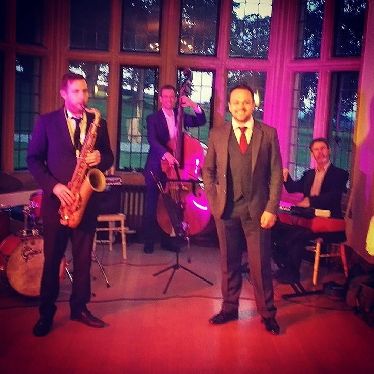 """Our Somerset line-up: Sammy Mayne - sax Luke Steele - bass Nat Steele - drums Dave Newton - keys with me on vocals. Hope Will and Charlotte enjoyed their first dance """"Let's Get Lost"""" by Chet Baker nice tune! #Wedding #Band #LiveBand #LiveMusic #Jazz #Swing #JazzStandards #Musicians #Singing #Music #Gig #SwingSinger #LukeSteeleQuintet #Quintet #Somerset #CoombeLodge #Blagdon #Bride #Groom #Suits"""