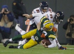 Packers vs. Bears - Game Day First Impressions, Unfiltered:  CHI 27 GB 20 - http://jerseyal.com/GBP/2013/11/04/packers-vs-bears-game-day-first-impressions-unfiltered-chi-27-gb-20/ http://jerseyal.com/GBP/wp-content/uploads/2013/11/rodgershurt-300x220.jpg