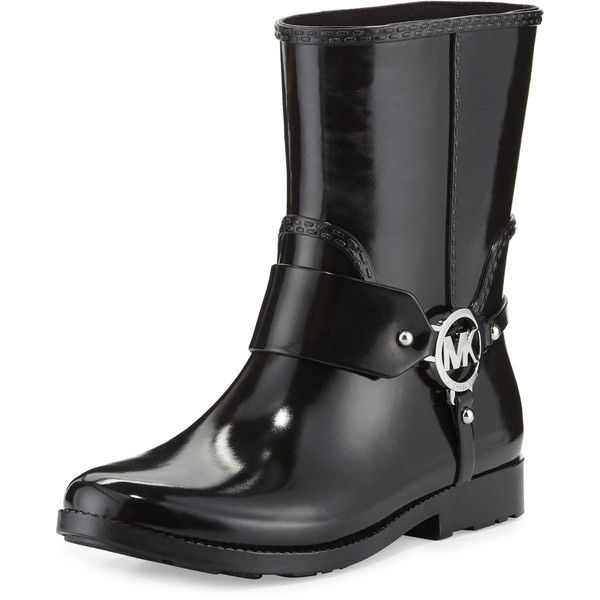 MICHAEL Michael Kors Fulton Harness Short Rain Boot ($100) ❤ liked on Polyvore featuring shoes, boots, ankle booties, ankle boots, black, short ankle boots, black rain boots, short black boots, black ankle booties and short boots