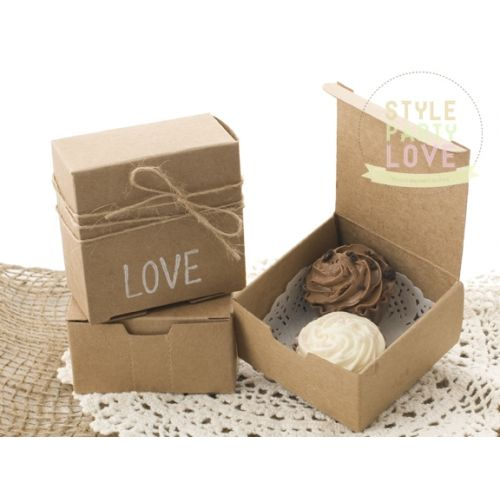 Brown Kraft Bomboniere | Favour Gift Boxes with Tag and Twine
