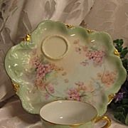 SOLD Exceptional Antique Limoges Hand Painted French Tea Cup Luncheon Sandwich Dessert Tray ..