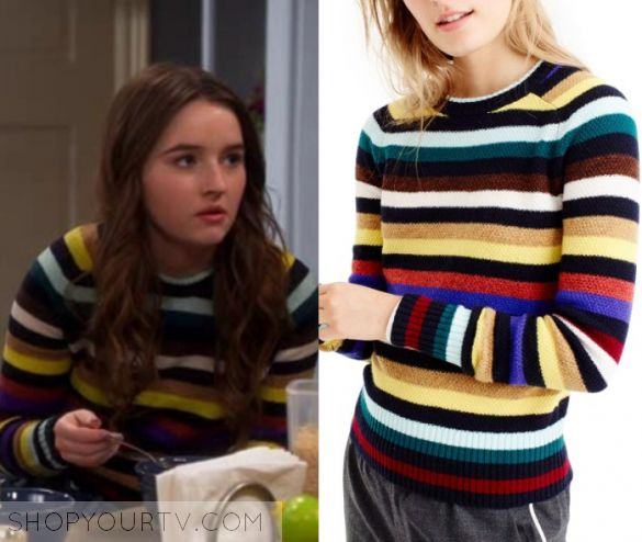 """Last Man Standing: Season 6 Episode 18 Eve's Multi Striped Crew Neck Sweater 
